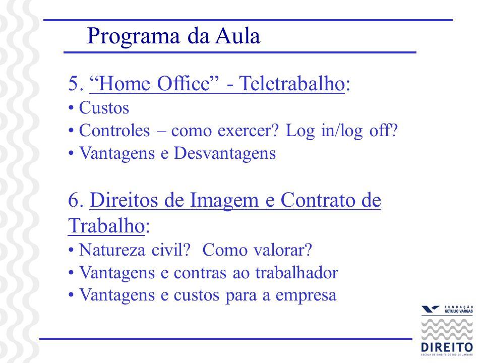 Programa da Aula 5. Home Office - Teletrabalho: Custos Controles – como exercer? Log in/log off? Vantagens e Desvantagens 6. Direitos de Imagem e Cont