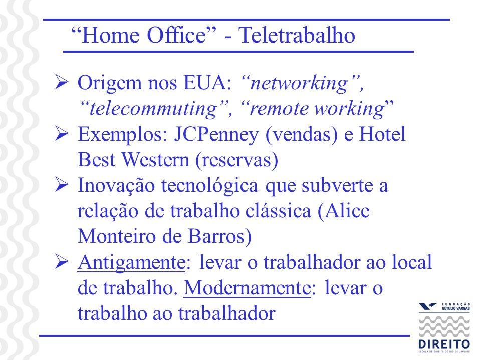 Home Office - Teletrabalho Origem nos EUA: networking, telecommuting, remote working Exemplos: JCPenney (vendas) e Hotel Best Western (reservas) Inova