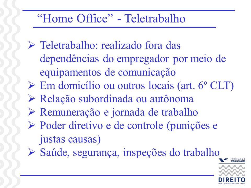 Home Office - Teletrabalho Teletrabalho: realizado fora das dependências do empregador por meio de equipamentos de comunicação Em domicílio ou outros