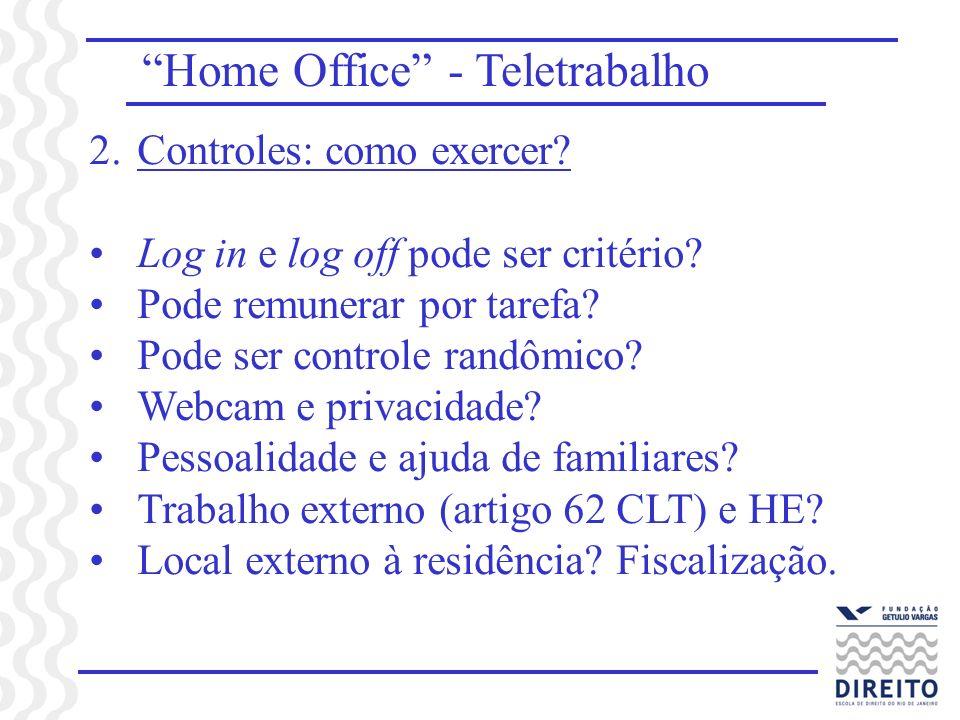Home Office - Teletrabalho 2.Controles: como exercer? Log in e log off pode ser critério? Pode remunerar por tarefa? Pode ser controle randômico? Webc