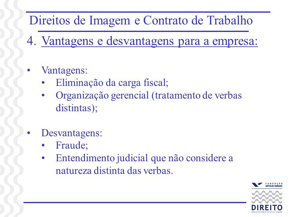 Direitos de Imagem e Contrato de Trabalho 4.Vantagens e desvantagens para a empresa: Vantagens: Eliminação da carga fiscal; Organização gerencial (tra