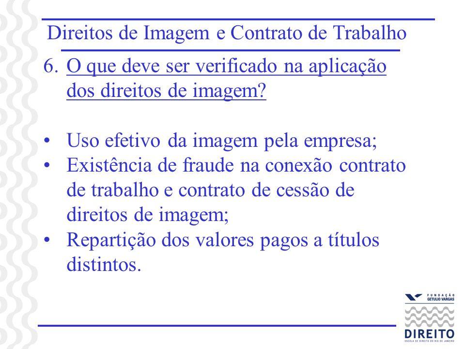 Direitos de Imagem e Contrato de Trabalho 6.O que deve ser verificado na aplicação dos direitos de imagem? Uso efetivo da imagem pela empresa; Existên