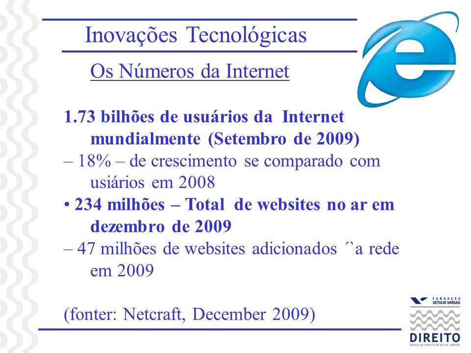 Inovações Tecnológicas Os Números da Internet 1.73 bilhões de usuários da Internet mundialmente (Setembro de 2009) – 18% – de crescimento se comparado