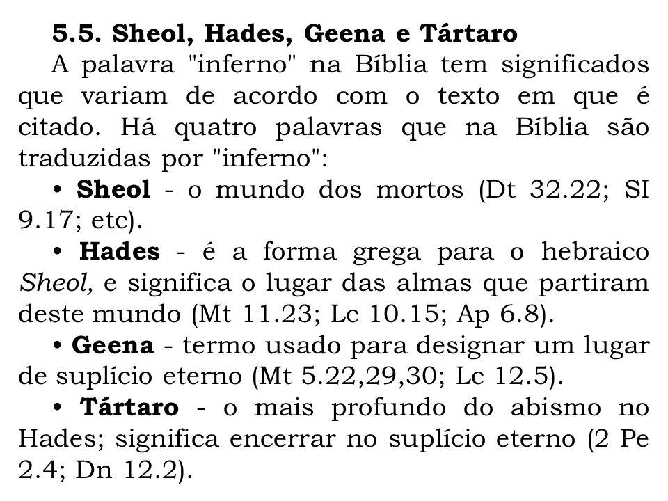 5.5. Sheol, Hades, Geena e Tártaro A palavra