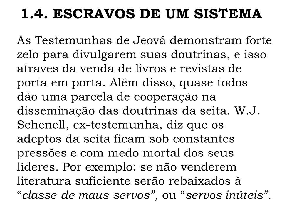 As Testemunhas de Jeová demonstram forte zelo para divulgarem suas doutrinas, e isso atraves da venda de livros e revistas de porta em porta. Além dis