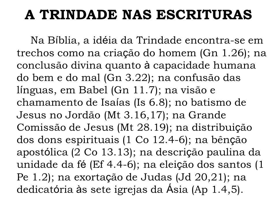Na B í blia, a id é ia da Trindade encontra-se em trechos como na cria ç ão do homem (Gn 1.26); na conclusão divina quanto à capacidade humana do bem