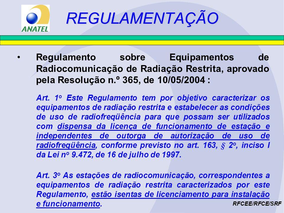 REGULAMENTAÇÃORFCEE/RFCE/SRF Assim, de acordo com o estabelecido na Lei nº 9.472/1997 e na Res.