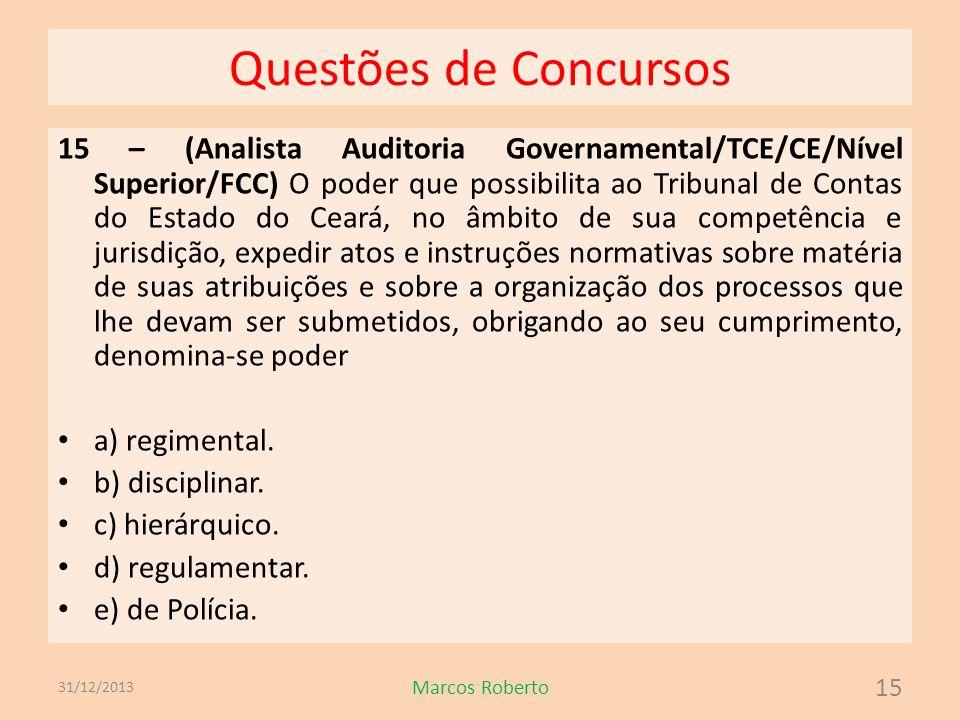 Questões de Concursos 15 – (Analista Auditoria Governamental/TCE/CE/Nível Superior/FCC) O poder que possibilita ao Tribunal de Contas do Estado do Cea