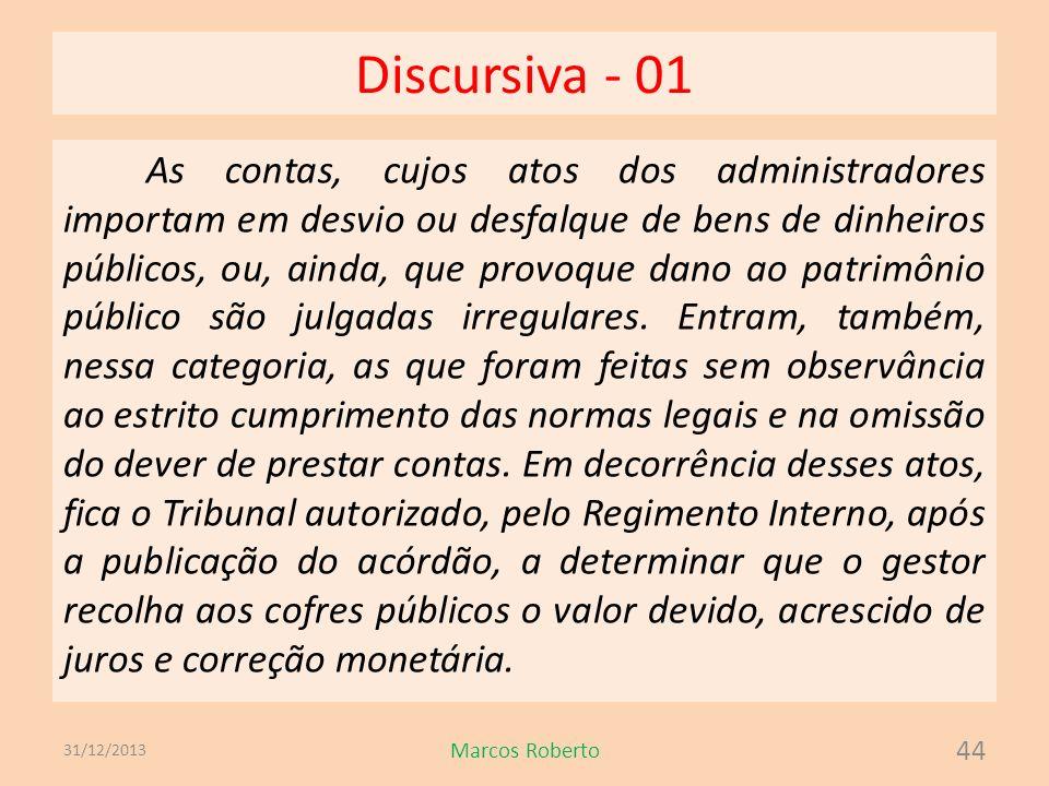 Discursiva - 01 As contas, cujos atos dos administradores importam em desvio ou desfalque de bens de dinheiros públicos, ou, ainda, que provoque dano