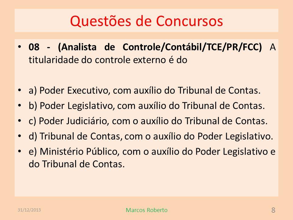 Questões de Concursos 08 - (Analista de Controle/Contábil/TCE/PR/FCC) A titularidade do controle externo é do a) Poder Executivo, com auxílio do Tribu