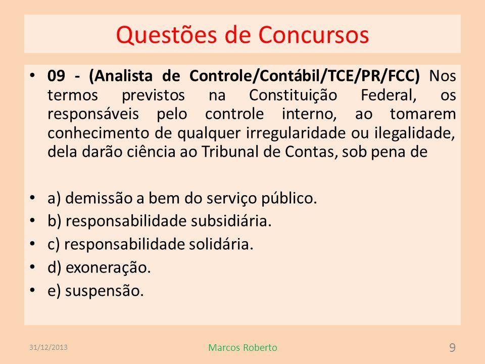 Questões de Concursos 09 - (Analista de Controle/Contábil/TCE/PR/FCC) Nos termos previstos na Constituição Federal, os responsáveis pelo controle inte
