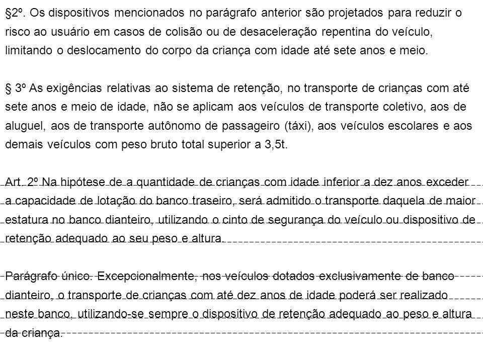 §2º. Os dispositivos mencionados no parágrafo anterior são projetados para reduzir o risco ao usuário em casos de colisão ou de desaceleração repentin