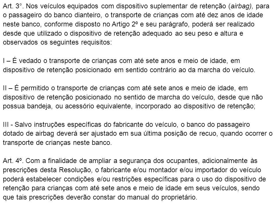 Art. 3°. Nos veículos equipados com dispositivo suplementar de retenção (airbag), para o passageiro do banco dianteiro, o transporte de crianças com a