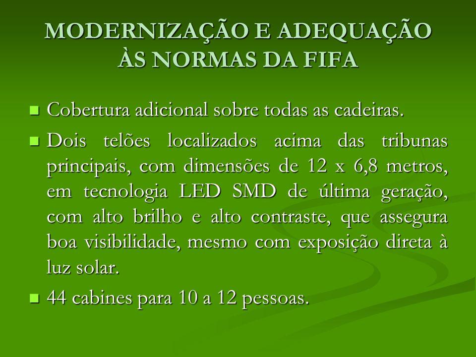 MODERNIZAÇÃO E ADEQUAÇÃO ÀS NORMAS DA FIFA Cobertura adicional sobre todas as cadeiras.