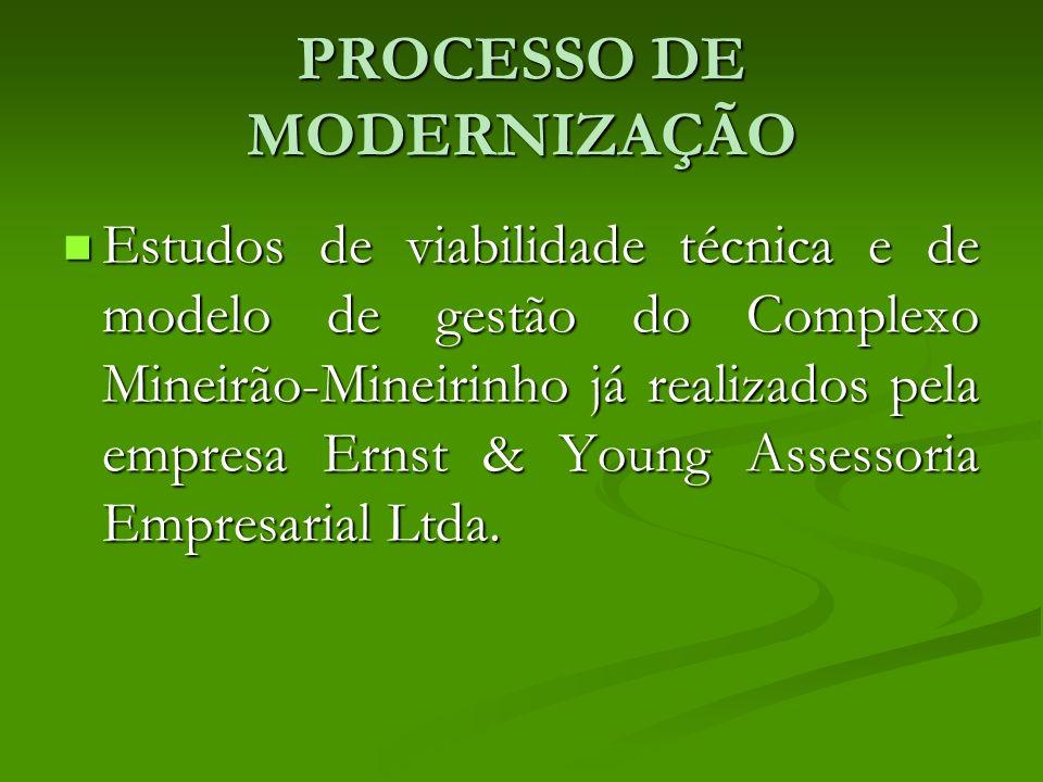 PROCESSO DE MODERNIZAÇÃO Estudos de viabilidade técnica e de modelo de gestão do Complexo Mineirão-Mineirinho já realizados pela empresa Ernst & Young Assessoria Empresarial Ltda.