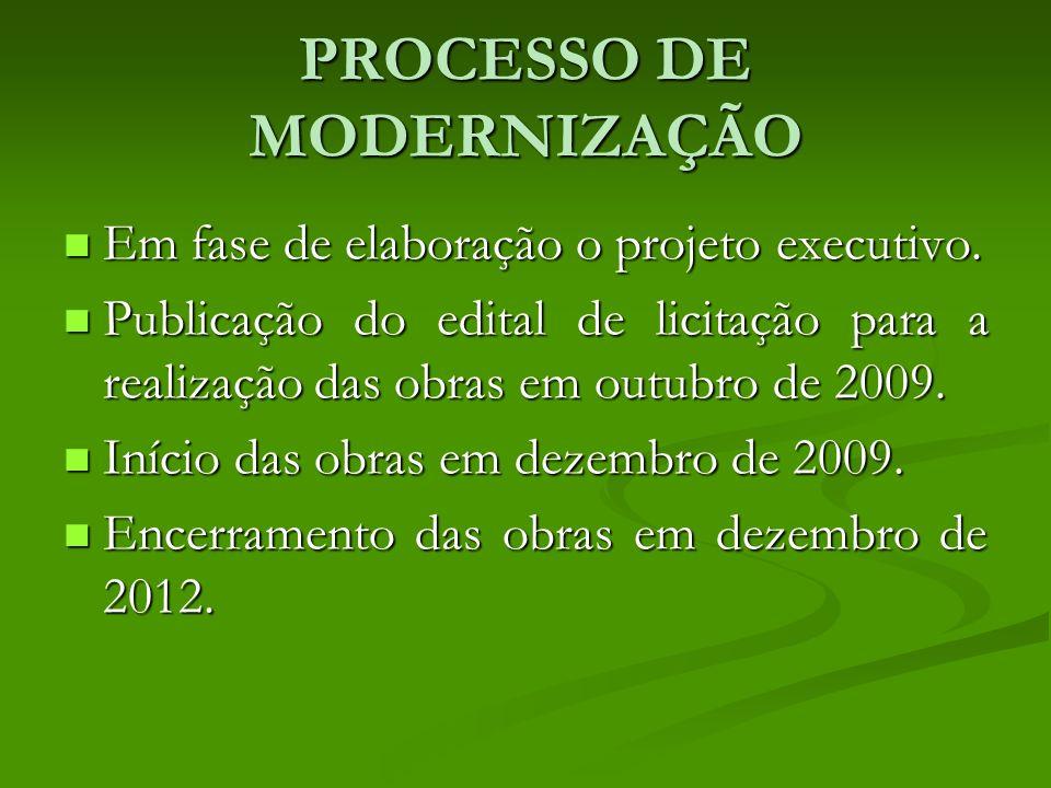 PROCESSO DE MODERNIZAÇÃO Em fase de elaboração o projeto executivo.