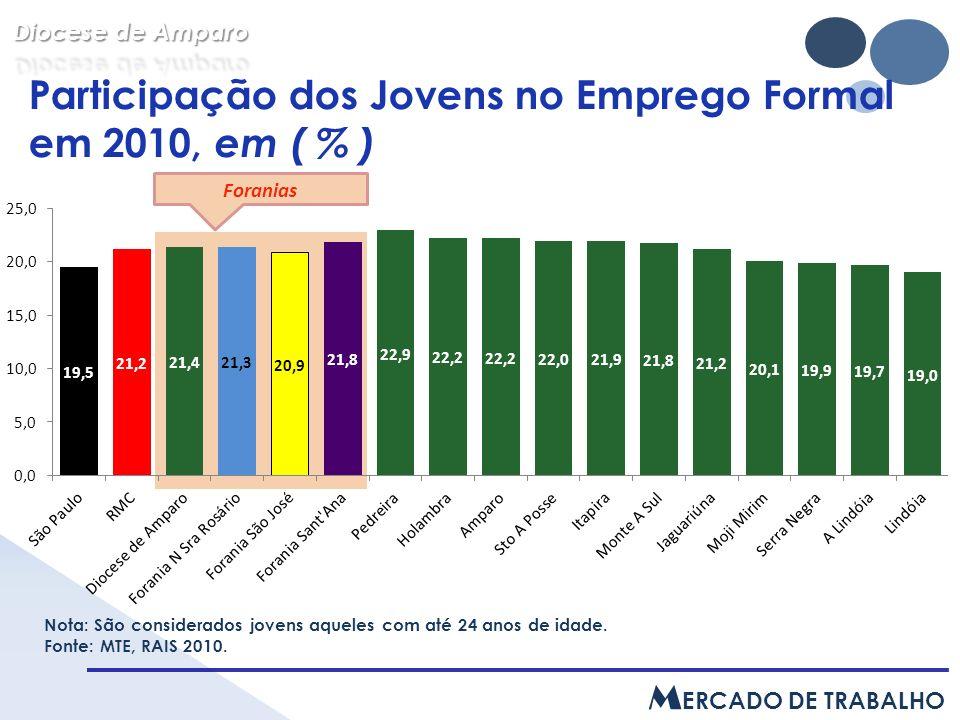Participação dos Jovens no Emprego Formal em 2010, em ( % ) Nota: São considerados jovens aqueles com até 24 anos de idade.
