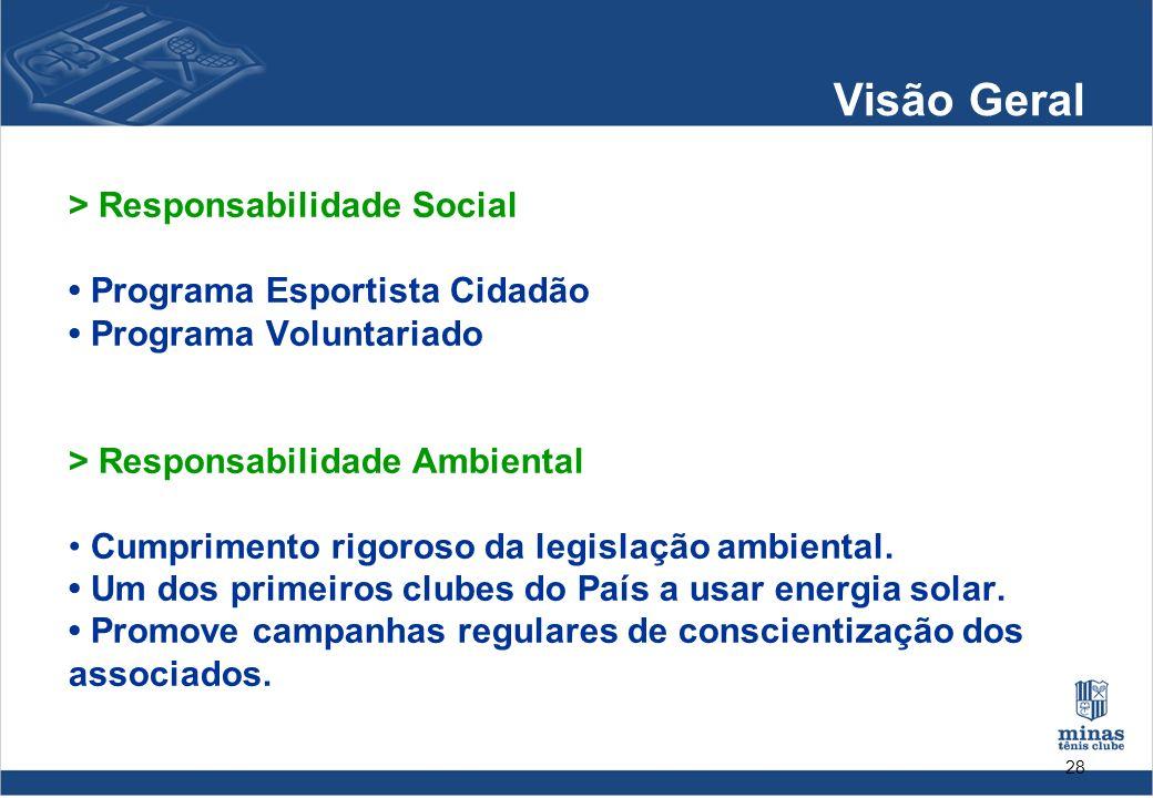 28 Visão Geral > Responsabilidade Social Programa Esportista Cidadão Programa Voluntariado > Responsabilidade Ambiental Cumprimento rigoroso da legisl