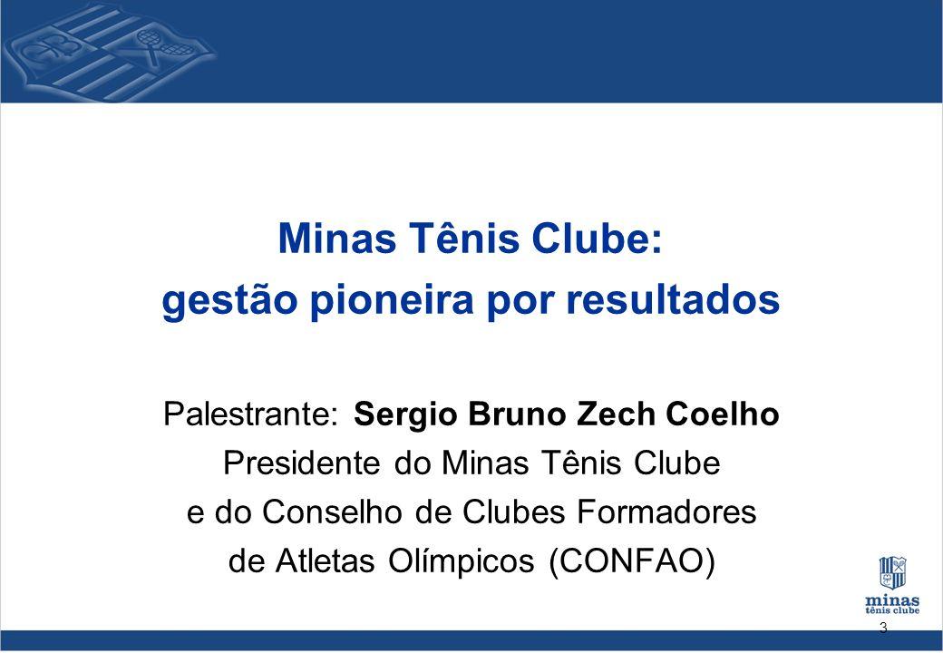 3 Minas Tênis Clube: gestão pioneira por resultados Palestrante: Sergio Bruno Zech Coelho Presidente do Minas Tênis Clube e do Conselho de Clubes Form