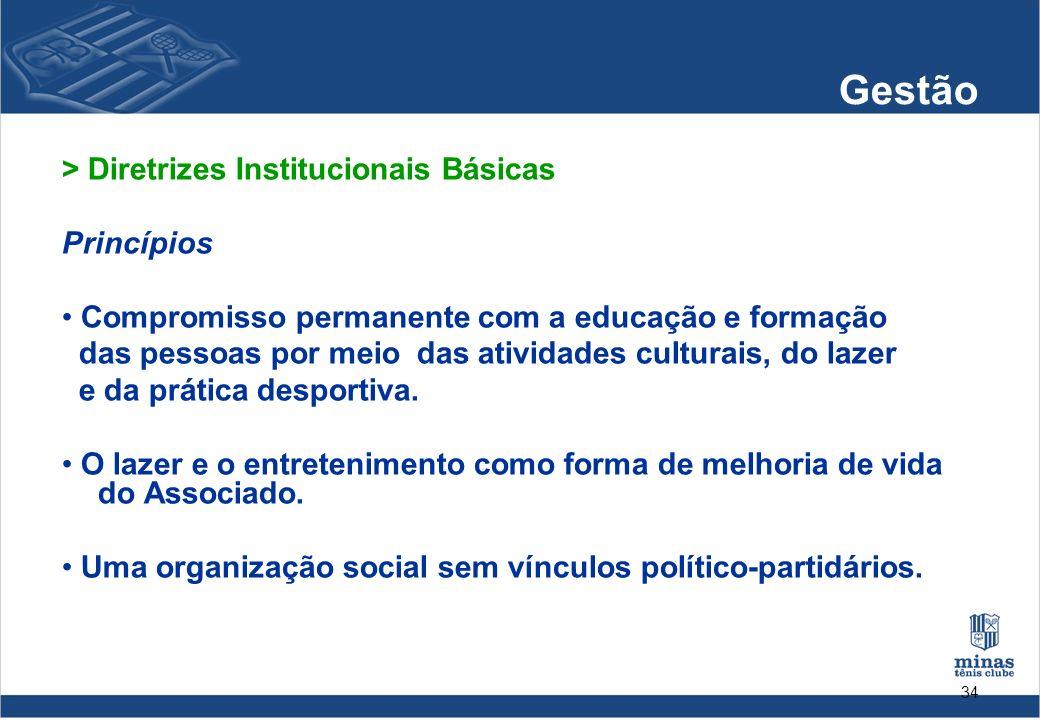 34 Gestão > Diretrizes Institucionais Básicas Princípios Compromisso permanente com a educação e formação das pessoas por meio das atividades culturai