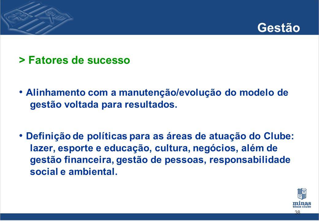 38 Gestão > Fatores de sucesso Alinhamento com a manutenção/evolução do modelo de gestão voltada para resultados. Definição de políticas para as áreas