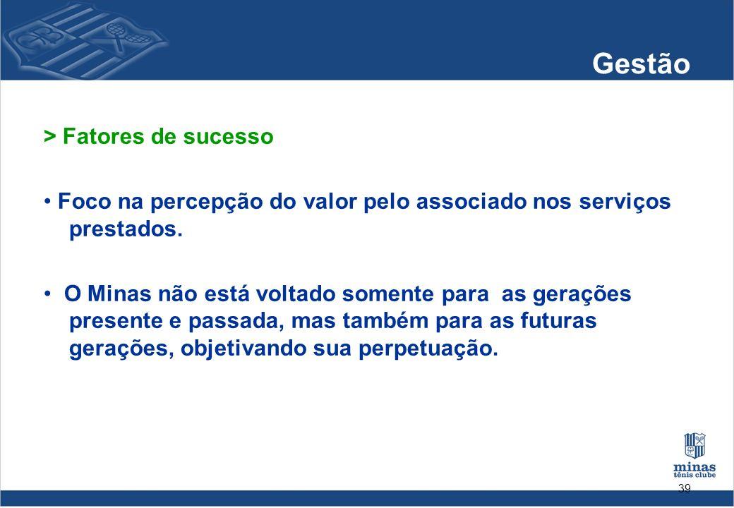 39 Gestão > Fatores de sucesso Foco na percepção do valor pelo associado nos serviços prestados. O Minas não está voltado somente para as gerações pre