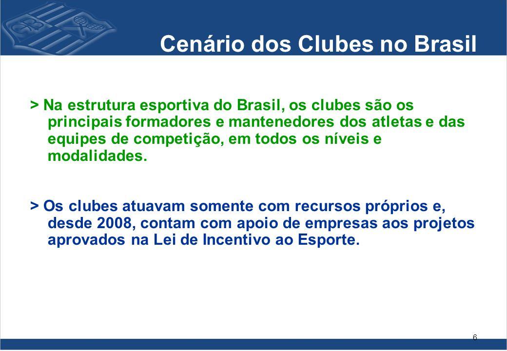 6 > Na estrutura esportiva do Brasil, os clubes são os principais formadores e mantenedores dos atletas e das equipes de competição, em todos os nívei