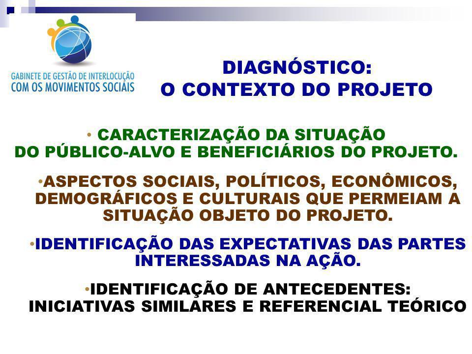 DIAGNÓSTICO: O CONTEXTO DO PROJETO CARACTERIZAÇÃO DA SITUAÇÃO DO PÚBLICO-ALVO E BENEFICIÁRIOS DO PROJETO. ASPECTOS SOCIAIS, POLÍTICOS, ECONÔMICOS, DEM