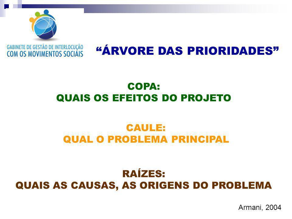ÁRVORE DAS PRIORIDADES RAÍZES: QUAIS AS CAUSAS, AS ORIGENS DO PROBLEMA CAULE: QUAL O PROBLEMA PRINCIPAL COPA: QUAIS OS EFEITOS DO PROJETO Armani, 2004