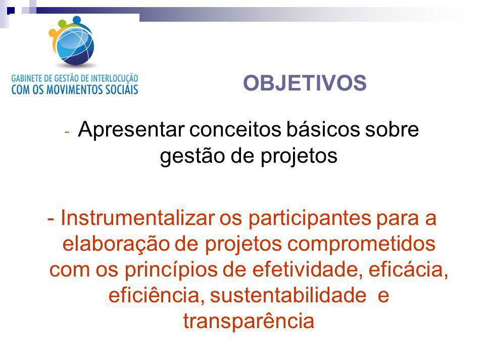 - Apresentar conceitos básicos sobre gestão de projetos - Instrumentalizar os participantes para a elaboração de projetos comprometidos com os princíp