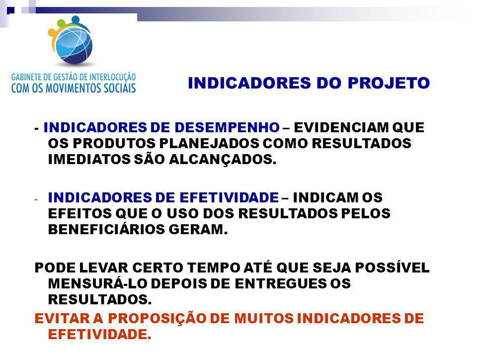 INDICADORES DO PROJETO - INDICADORES DE DESEMPENHO – EVIDENCIAM QUE OS PRODUTOS PLANEJADOS COMO RESULTADOS IMEDIATOS SÃO ALCANÇADOS. - INDICADORES DE