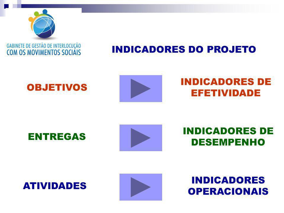 INDICADORES DO PROJETO OBJETIVOS INDICADORES DE EFETIVIDADE ENTREGAS ATIVIDADES INDICADORES DE DESEMPENHO INDICADORES OPERACIONAIS