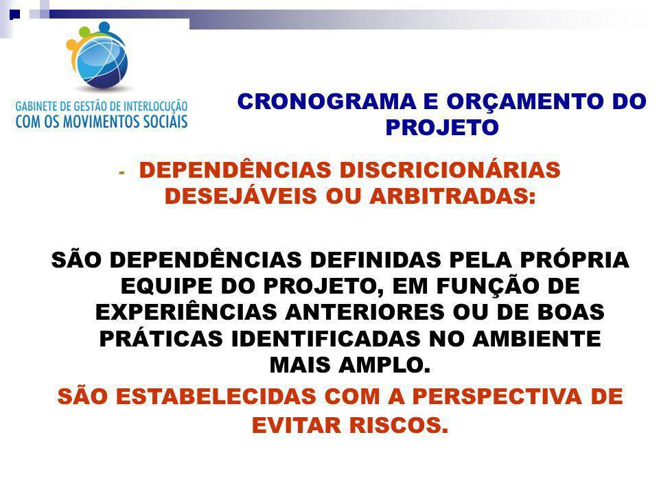 CRONOGRAMA E ORÇAMENTO DO PROJETO - DEPENDÊNCIAS DISCRICIONÁRIAS DESEJÁVEIS OU ARBITRADAS: SÃO DEPENDÊNCIAS DEFINIDAS PELA PRÓPRIA EQUIPE DO PROJETO,