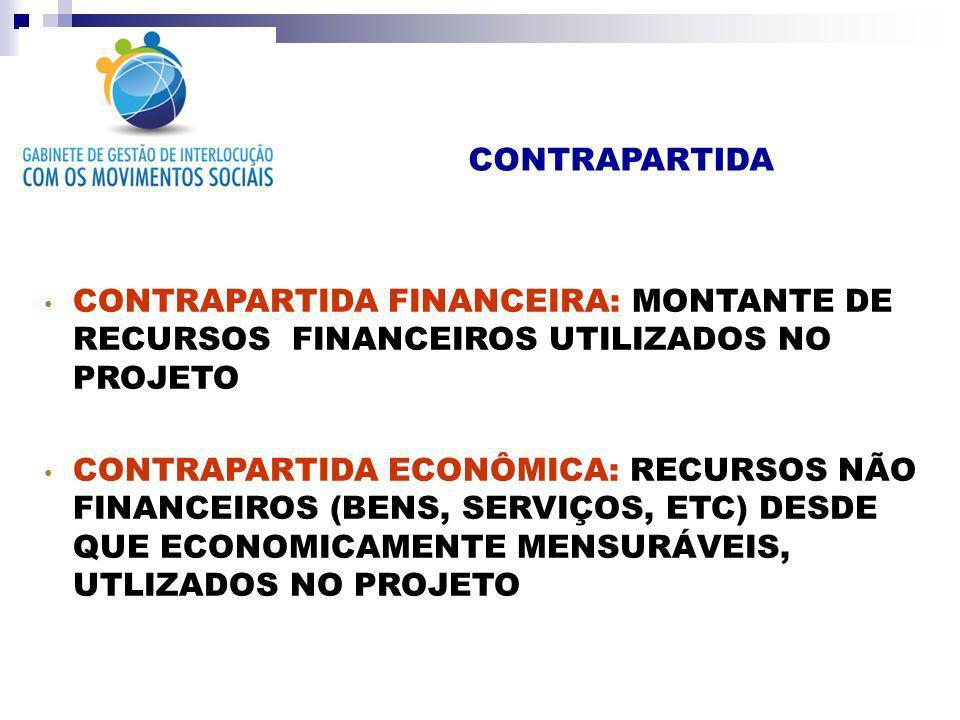 CONTRAPARTIDA CONTRAPARTIDA FINANCEIRA: MONTANTE DE RECURSOS FINANCEIROS UTILIZADOS NO PROJETO CONTRAPARTIDA ECONÔMICA: RECURSOS NÃO FINANCEIROS (BENS