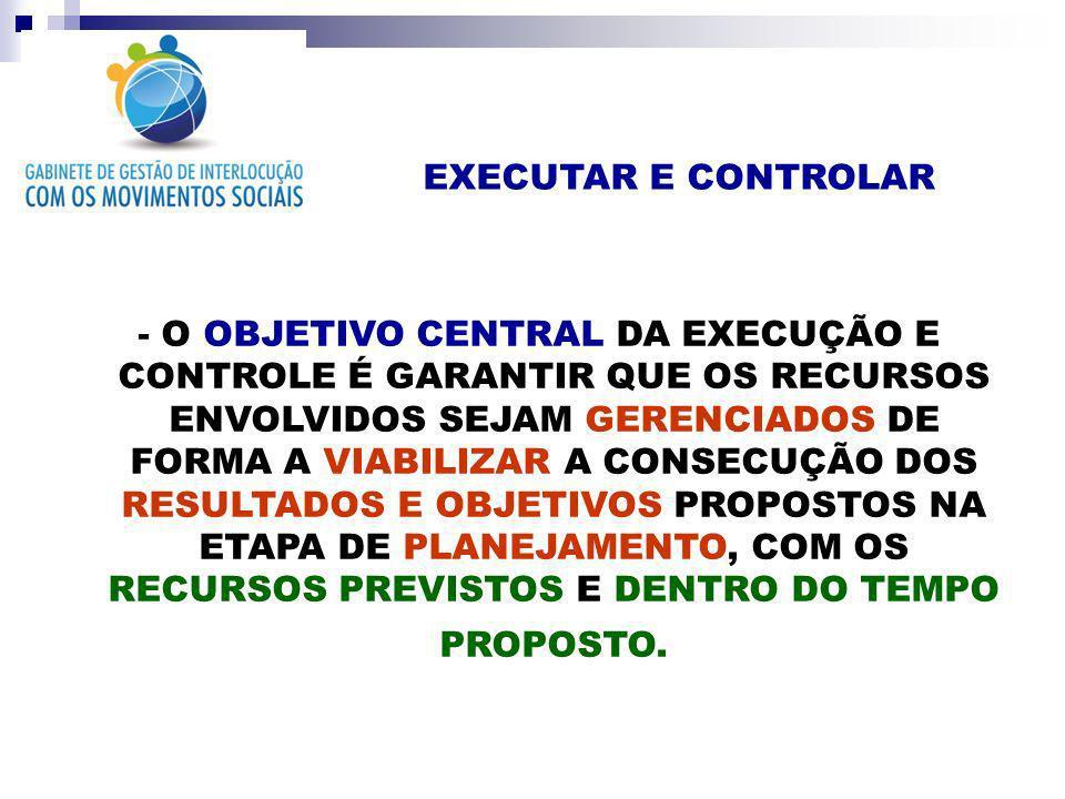 EXECUTAR E CONTROLAR - O OBJETIVO CENTRAL DA EXECUÇÃO E CONTROLE É GARANTIR QUE OS RECURSOS ENVOLVIDOS SEJAM GERENCIADOS DE FORMA A VIABILIZAR A CONSE