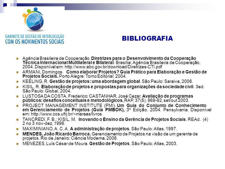 BIBLIOGRAFIA Agência Brasileira de Cooperação. Diretrizes para o Desenvolvimento da Cooperação Técnica Internacional Multilateral e Bilateral. Brasíli