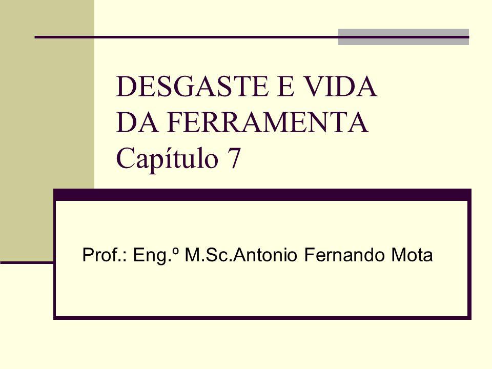 DESGASTE E VIDA DA FERRAMENTA Capítulo 7 Prof.: Eng.º M.Sc.Antonio Fernando Mota