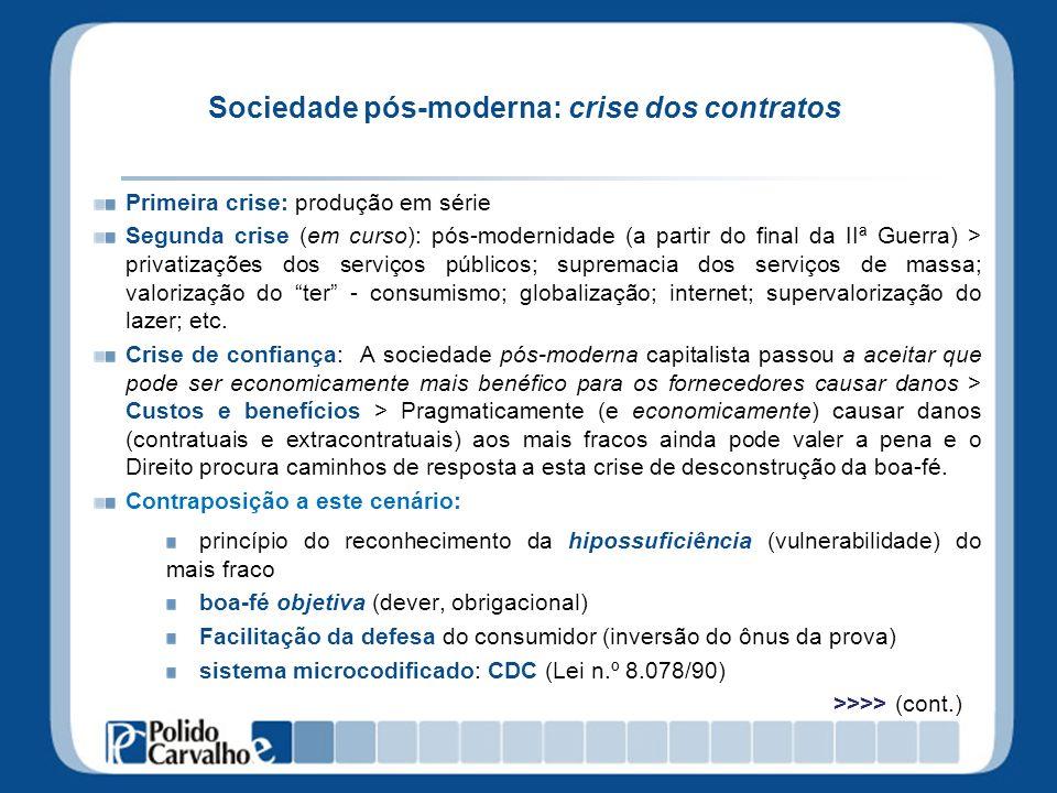 Sociedade pós-moderna: crise dos contratos Primeira crise: produção em série Segunda crise (em curso): pós-modernidade (a partir do final da IIª Guerr