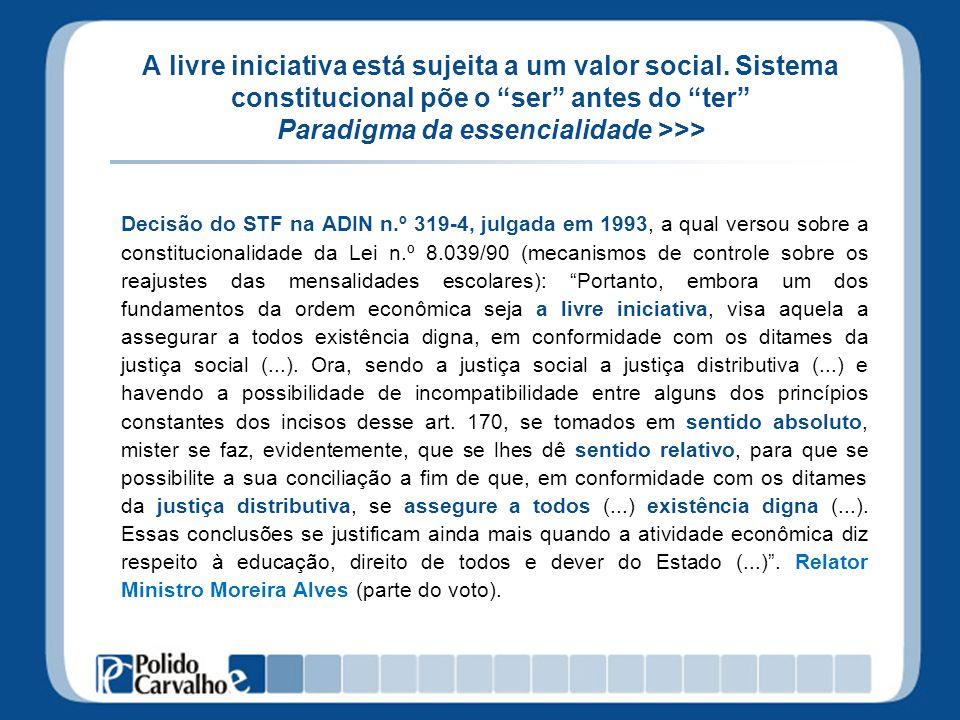 A livre iniciativa está sujeita a um valor social. Sistema constitucional põe o ser antes do ter Paradigma da essencialidade >>> Decisão do STF na ADI