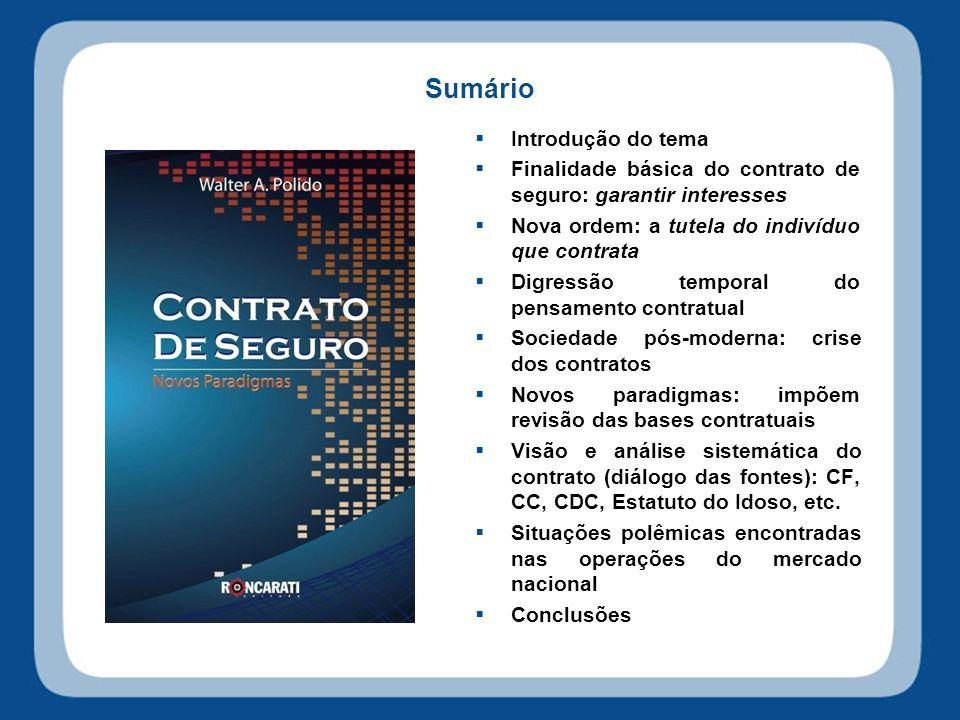 Sumário Introdução do tema Finalidade básica do contrato de seguro: garantir interesses Nova ordem: a tutela do indivíduo que contrata Digressão tempo