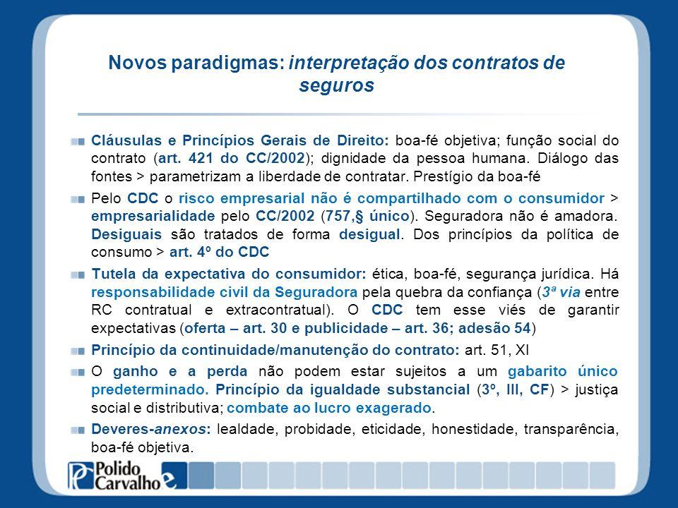 Novos paradigmas: interpretação dos contratos de seguros Cláusulas e Princípios Gerais de Direito: boa-fé objetiva; função social do contrato (art. 42