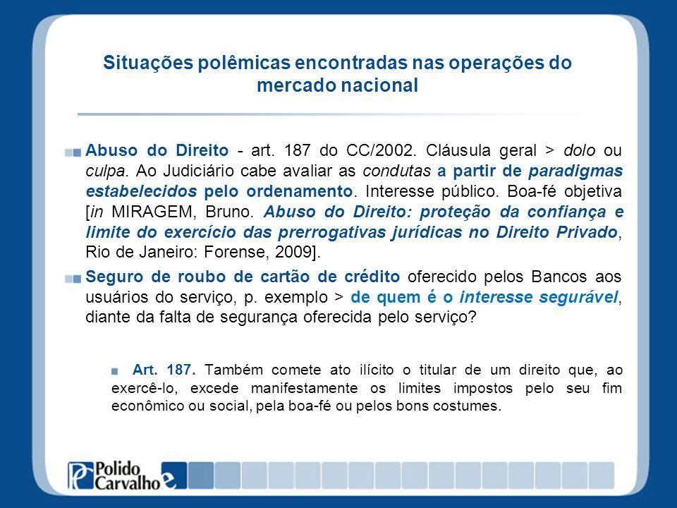 Situações polêmicas encontradas nas operações do mercado nacional Abuso do Direito - art. 187 do CC/2002. Cláusula geral > dolo ou culpa. Ao Judiciári