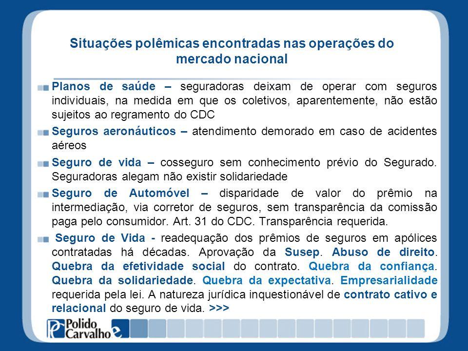 Situações polêmicas encontradas nas operações do mercado nacional Planos de saúde – seguradoras deixam de operar com seguros individuais, na medida em