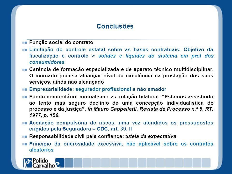 Conclusões Função social do contrato Limitação do controle estatal sobre as bases contratuais. Objetivo da fiscalização e controle > solidez e liquide