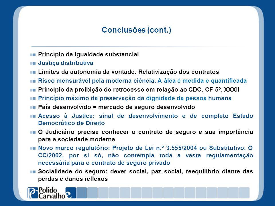 Conclusões (cont.) Princípio da igualdade substancial Justiça distributiva Limites da autonomia da vontade. Relativização dos contratos Risco mensuráv