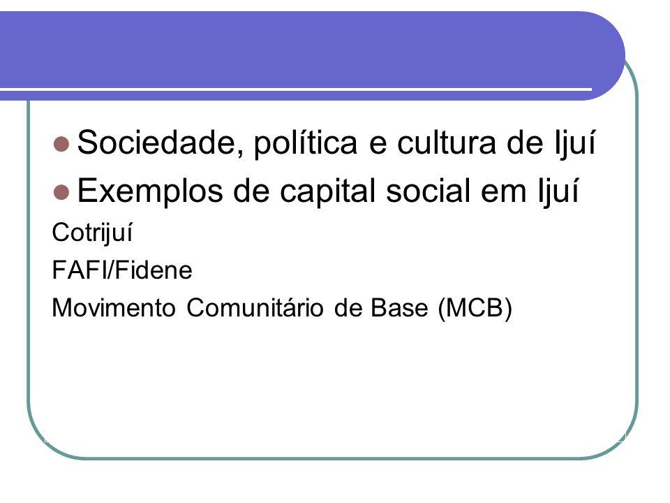 Sociedade, política e cultura de Ijuí Exemplos de capital social em Ijuí Cotrijuí FAFI/Fidene Movimento Comunitário de Base (MCB)