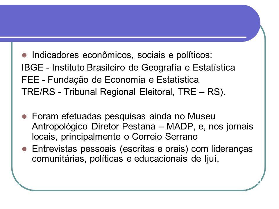 Indicadores econômicos, sociais e políticos: IBGE - Instituto Brasileiro de Geografia e Estatística FEE - Fundação de Economia e Estatística TRE/RS -