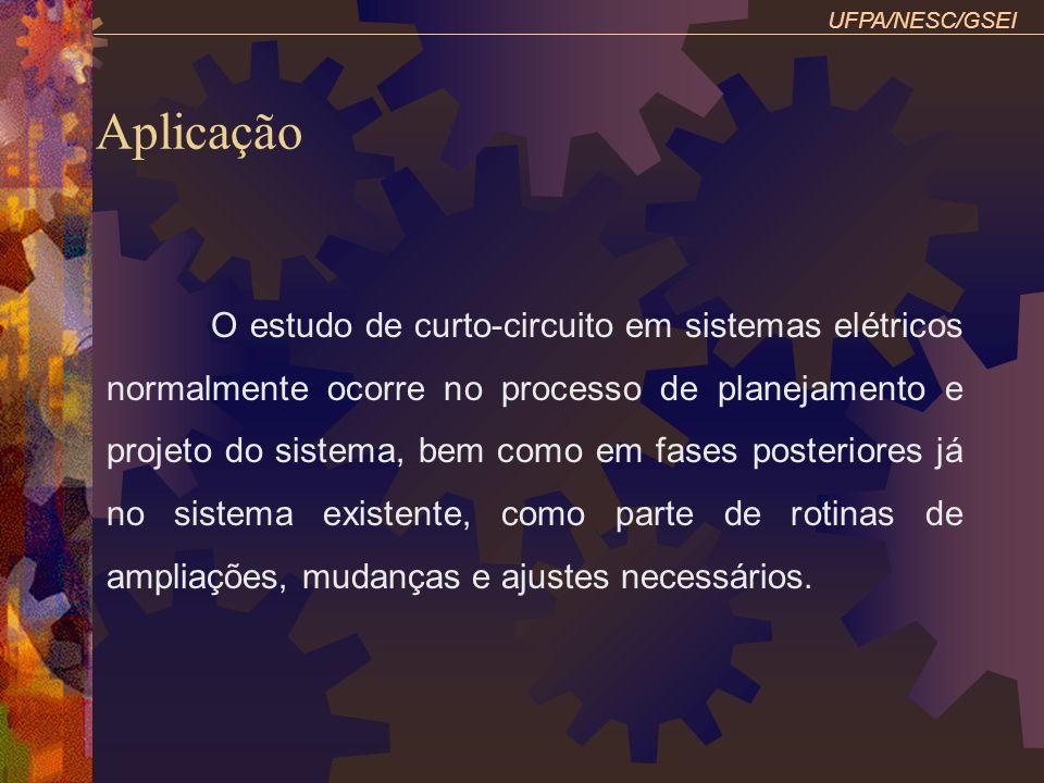 UFPA/NESC/GSEI Influência da corrente de carga Gerador: Yn 7,5 MVA, 4,16 kV, Xd1=10%, X2=10%, X0=5%, Xn=6% T1: 7,5 MVA, 4,16 kV Yn / 600 V, X=10% m1: Yn 7,5 MVA, 600 V, Xd1 = 30%, X2=30%, X0=6%, Xn=3% Antes da falta: motor 5000 HP, cosΦ=0,85 atrasado, η=88% Determine as contribuições do gerador e motor p/ C-C FT em D (considere a influência da carga)?