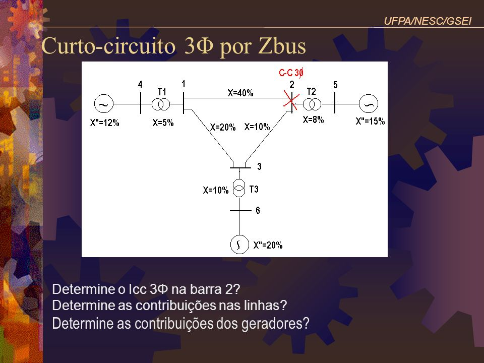 Curto-circuito 3Φ por Zbus Determine o Icc 3Φ na barra 2? Determine as contribuições nas linhas? Determine as contribuições dos geradores? UFPA/NESC/G