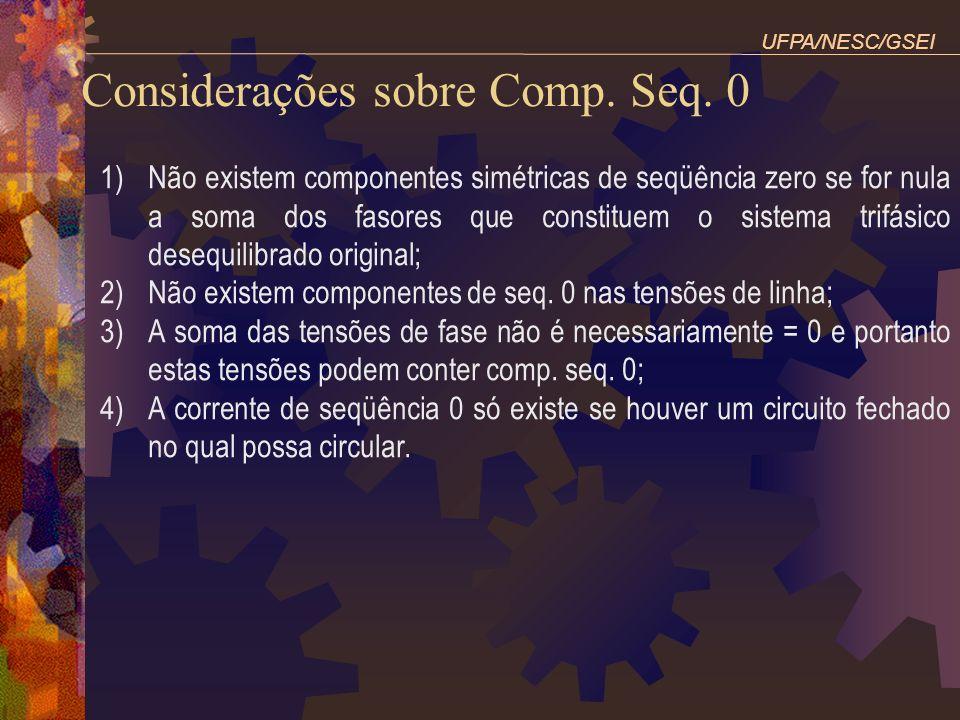 Considerações sobre Comp. Seq. 0 1)Não existem componentes simétricas de seqüência zero se for nula a soma dos fasores que constituem o sistema trifás